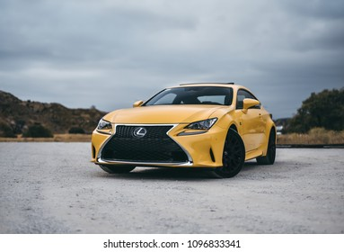 LA, California; May 20, 2018. Lexus RC F Sport on the front of mountain. Editorial photo.