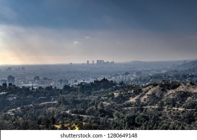 LA, California - Nov 24, 2018: Downtown Los Angeles skyline in smog in California from Griffith Observatory.