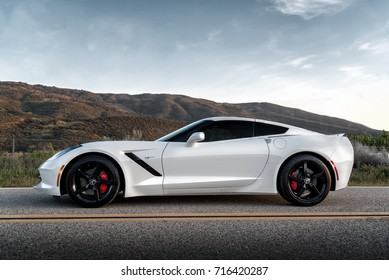 LA, California; September 16, 2017. Corvette Stingray C7 on the front of mountain. Editorial photo.