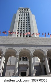 LA, California, USA - August 14, 2015: Los Angeles City Hall is the center of the government of the city of LA, houses the mayor's office and the meeting chambers and offices of the LA City Council.