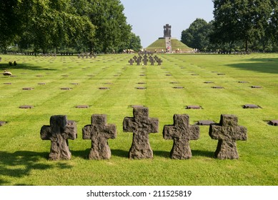 LA CAMBE, FRANCE: German Military Cemetery and Memorial at La Cambe, July 2014 in Normandy, France. Over 21.000 German fallen soldiers of World War 2 are buried here.