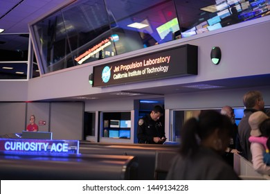 La Canada Flintridge, CA:  May 18, 2019:    Inside the JPL Mission Control Center during a JPL Open House event.  Jet Propulsion Laboratory is owned by NASA.