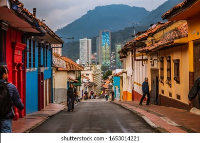 La Candelaria, the historic center of Bogotá, on a cloudy day, with streets from the colonial era of the city, a popular place for tourists, Bogotá Colombia, February 21, 2020