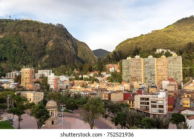 La Candelaria neighborhood in the center of Bogota, Colombia with the Andes mountains visible