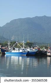 LA CEIBA, HONDURAS - JUNE 21, 2013: Port in La Ceiba where commercial fishing vessels are moored