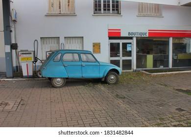 La Chatre La Creuse Limousin France. October 10 2020. Classic Citroen Dyane on abandoned forecourt in rural central France.