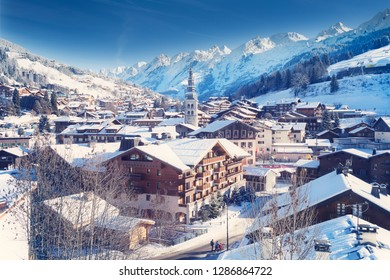 La Clusaz, France - January 15, 2019 : La Clusaz, located in the French Alps in Haute Savoie, is a beautiful little village and a famous winter sports resort.
