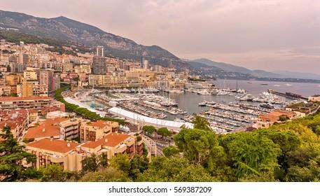 La Condamine (bottom), view of the city of Monte Carlo. Monaco.