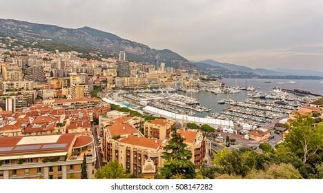 La Condamine (bottom), views of the city of Monte Carlo. Monaco.