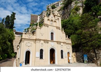 La Condamine, Monaco - 31.08.2018: Sainte-Dévote Chapel (dedicated to Saint Devota, who is patron saint of Monaco)