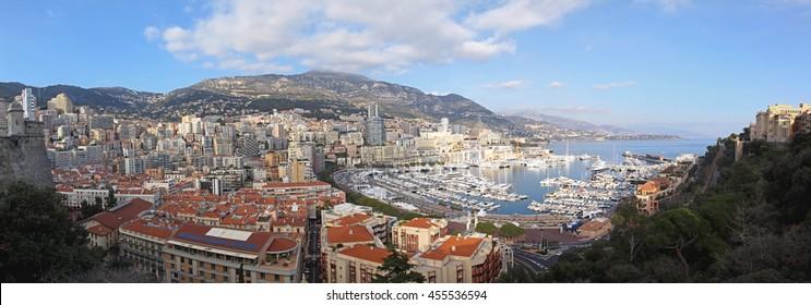 LA CONDAMINE, MONACO - JANUARY 18: Hercules Port Panorama in Monaco on JANUARY 18, 2012. Cityscape of Hercules Harbour in La Condamine, Monaco.