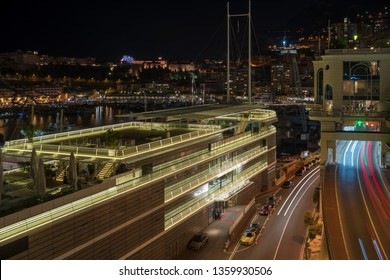 La Condamine, Monaco - March 29, 2019: Night view of the street in La Condamine district with new building the Yacht Club Monaco