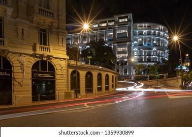 La Condamine, Monaco - March 29, 2019: Street view in the night in La Condamine district the Principality of Monaco
