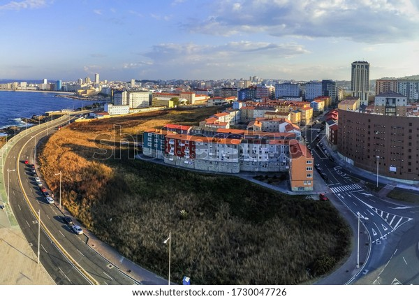 La Coruna. Aerial View in the beautiful city of Galicia,Spain. Drone Shoot