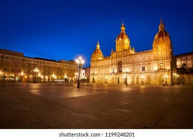 La Coruna City town hall sunset in Maria Pita Square of Galicia Spain