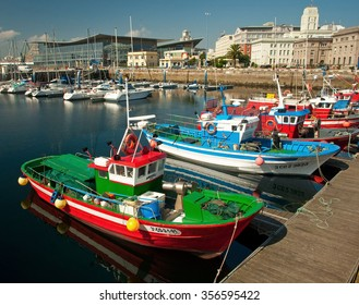 LA CORUNA, SPAIN -30 JULY, 2011: Harbor of La Coruna, Spain on 30 July, 2011. It provides a distribution point for agricultural goods from the region.