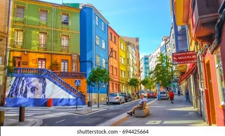 La Coruna, Spain - August 10, 2017: Colorful street in the city of La Coruña, Galicia, Spain
