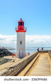 La cotiniere, France 4 august 2015: Lighthouse in  fishing port on Oleron island, Charente Maritime,  France