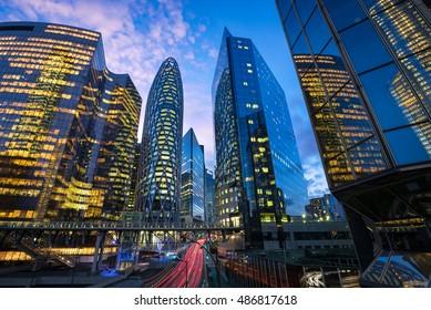 La Defense, the business district of Paris during the blue hour. D2 tower, Courbevoie, Puteaux, Nanterre, Paris, France