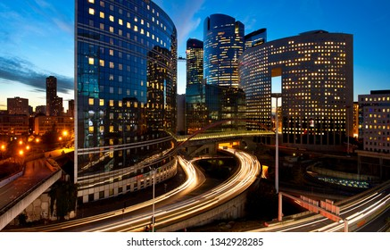 La defense district by night, Paris