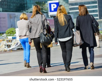 La defense, France- April 10, 2014: Group of business women going down stairs to get to work