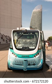 La Defense (France), July 5, 2017. Experimentation of autonomous and electric shuttles on the esplanade of La Défense, next to Paris in July 5, 2017