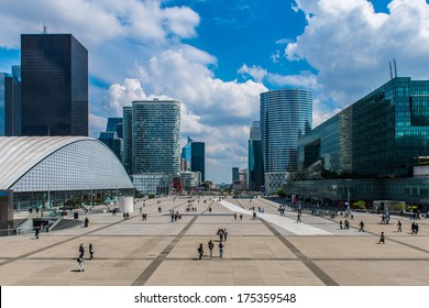 La Defense In Paris with modern buildings in background - France.