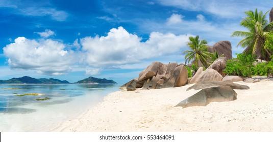 La Digue island beaches, panorama, Seychelles.