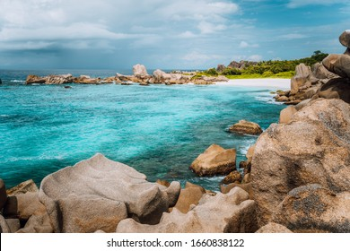 La Digue island, Seychelles. Marron hidden most remote secluded beautiful beach