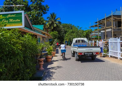 LA DIGUE, SEYCHELLES - SEPTEMBER 13 2017: Main street of La Digue island at Seychelles