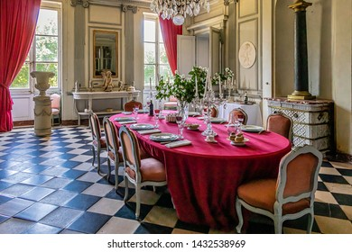 LA FERTE-ST-AUBIN, FRANCE, JUNE 22, 2019. The Château de la Ferté is located in the department of Loiret. Inside view. Dining room and table set up for the meal.