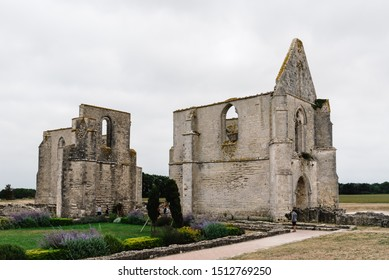 La Flotte, France - August 7, 2018: The ruin of the Abbey des Chateliers on the island of Re.