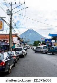 La Fortuna/ Costa Rica - June 8, 2018: Arenal Volcano's view from La Fortuna town.