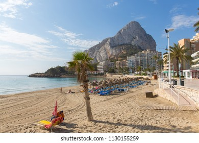 La Fossa beach Calp Spain Costa Blanca with view of the rock landmark Peñón de Ifach
