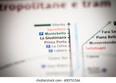 La Giustiniana Station. Rome Metro map.