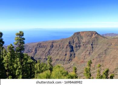 La Gomera landscape, The tableland La Fortaleza, Canary islands in Spain, El Hierro in background