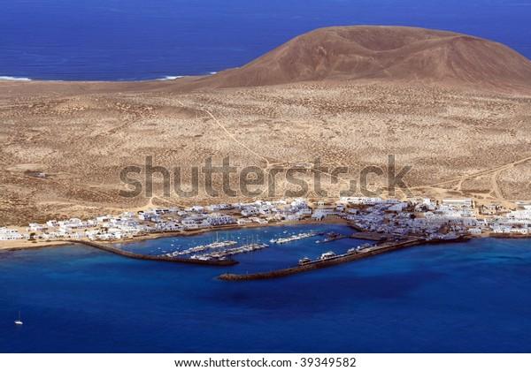 La Graciosa island from the Mirador del Rio viewpoint, Lanzarote, Canary islands, Spain
