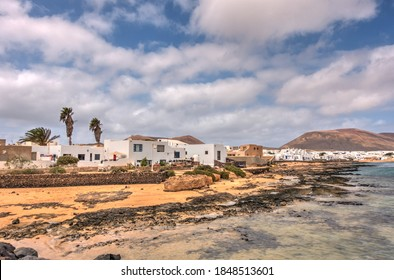 La Graciosa, Lanzarote, Spain - September 2020 : Picturesque island in sunny weather, HDR Image