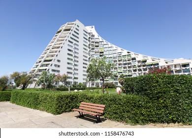 La Grande Motte, France - July 5, 2018: Pyramidal building and architecture in La Grande Motte, France