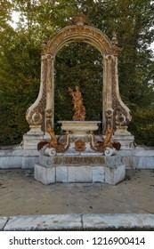 LA GRANJA DE SAN ILDEFONSO, SEGOVIA, SPAIN - OCTOBER 13,2018: fountain dedicated to ceres godess of agriculture in royal palace gardens of la granja de san ildefonso built during the reign of Felipe V