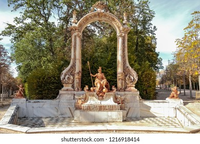 LA GRANJA DE SAN ILDEFONSO, SEGOVIA, SPAIN - OCTOBER 13,2018: fountain dedicated to minerva goddess of wisdom in royal palace gardens of la granja de san ildefonso built during the reign of Felipe V
