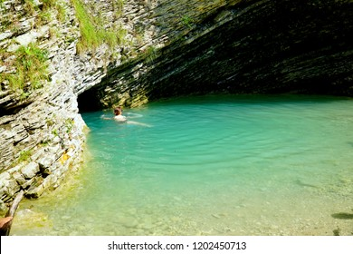 La Grotta Azzura a Mel, Province of Belluno. The magic natural scenery in Italy. The amazing natural grotto.
