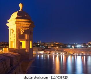 La Guardiola. View to Valletta from Senglea, Malta