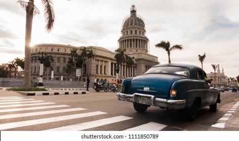 La Habana, Cuba - 1 June 2018. Some old vintage cars in La Habana roads.