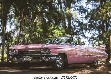 La Habana, Cuba; August 20, 2017: Big USA car, it's one Cadillac Eldorado pink color parked in the park