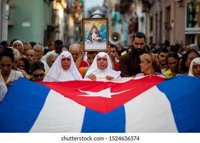 LA HABANA, CUBA - SEPTEMBER 8, 2019: Faithful participate in the pilgrimage that every year pays tribute to the Virgin of Charity, the patron saint of Cuba.