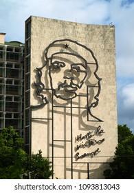 La Habana (Havana), Cuba. May 6, 2018. Iconic face of Che Guevara on the Ministry of Interior building in Plaza de la Revolución in Havana, Cuba.