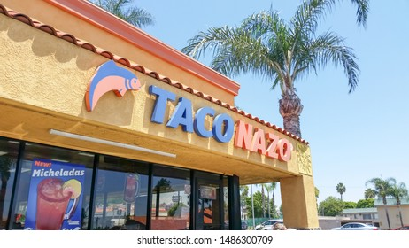 La Habra, California/United States - 07/12/2019: A store front sign for the taco shop known as Taco Nazo