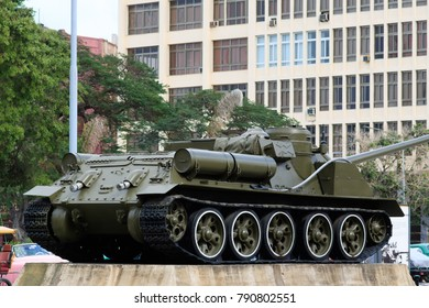 "LA HAVANA, CUBA - DEC, 08, 2017: Cuba has become one of the most visited islands in the caribbean. Here is a tank from the ""Museo de la Revolucion""."