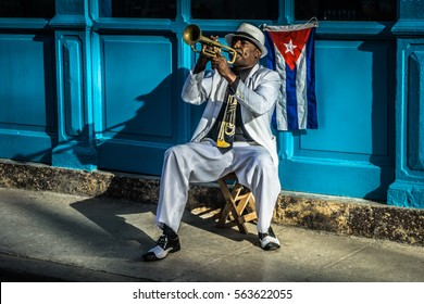 La Havana, Cuba -?? December 26, 2016: cuban portrait series, Trumpet player on street